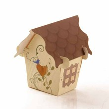 4x4x5cm New House Shape Paper Gift Boxes Candy Favor Boxes For Party Gift 12pcs