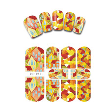 UPRETTEGO NAIL ART BEAUTY WATER DECAL SLIDER NAIL STICKER FLOWER MAPLE LEAF UK FLAG CAT KITTEN RU121-126(China)