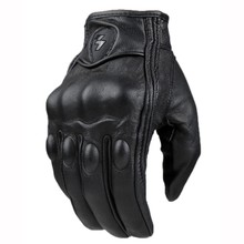 Top Guantes Fashion Glove real Leather Full Finger Black moto men Motorcycle Gloves Motorcycle Protective Gears Motocross Glove(China)