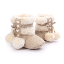 2016 New Warm Plus velvet First Walkers Winter Baby Ankle Snow Boots Infant Crochet Suede Fleece Baby Shoes For Girls(China)