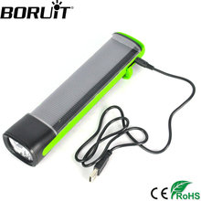 BORUiT 1600LM Solar Power LED Flashlight Solar Rechargeable USB Power Bank Torch Camping Hunting Light Built-in Li-lon Battery(China)