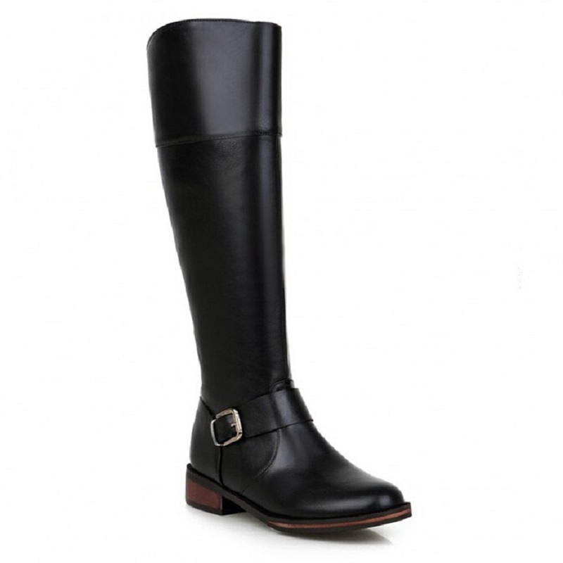 2015 New Winter Fashion Boots Buckle Round Toe Side Zipper Brand Womens Flat Knee High Boots Shoes Woman Ladies Rain Boots US 10<br>