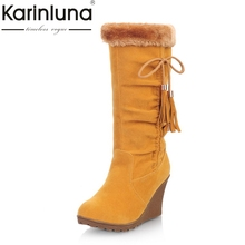KARINLUNA 2017 large size 34-43 winter shoes woman fashion add fur slip on snow boots women warm plush wedges high heel shoes(China)