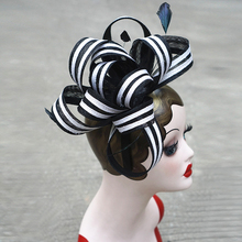 Women Black White Sinamay Fascinator Hats Feather Ladies Headwear with Black Headband For Kentucky Derby Wedding Party Race