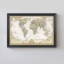 Rushed Sticker Classic World Map English For Retro Kraft Paper Poster Decorative Painting Core 72.5x47.5 CM Vintage Wall Sticker