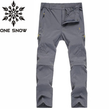 ONE SNOW Men Outdoor Summer Waterproof Coolmax Pants Removable Stretch Pants Women Running Camping Mountain Climbing Sport Pants
