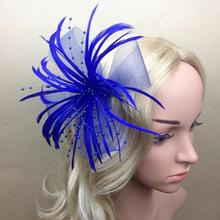 Women Curl Feather Fascinator Halloween Party Headband Clip Wedding Headpiece(China)
