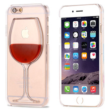 Hot Sale Red 3D Wine Glass Cup Dynamic Liquid Transparent Case For Apple iPhone 4 4S 5C 5 5S SE 6 6 Plus Phone Cases Back Covers