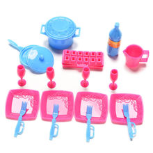 18 Pcs/set Mini Plastic Simulation tableware Kitchen pots and pans dishes glasses cutlery for barbie doll Random Color