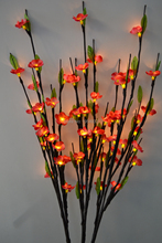 Electric Type LED Blossom Plum Branch light 40' with 60Led Plus green leaf decoration LED Cherry Plum Branch Light 3V DC Adaptor