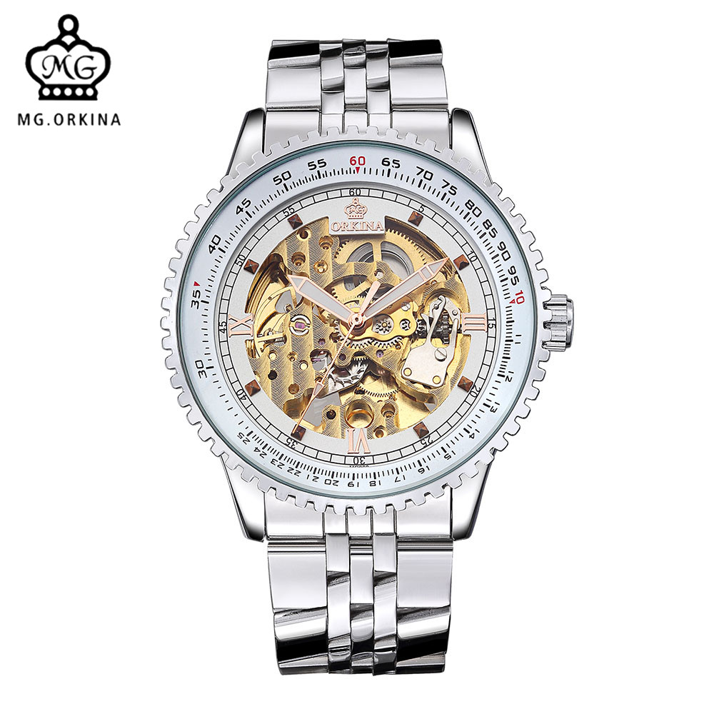 MG. ORKINA Brand Male Automatico Watches Luxury Golden Skeleton Mehcanical Movement Steel Band Mens Watches Relogio Masculino<br>