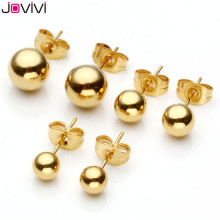 Buy JOVIVI Fashion Jewelry Stainless Steel Round Bead Ball Stud Earring Women 5-8mm Bead Golden Ball Ear Stud Earring Jewelry for $1.36 in AliExpress store