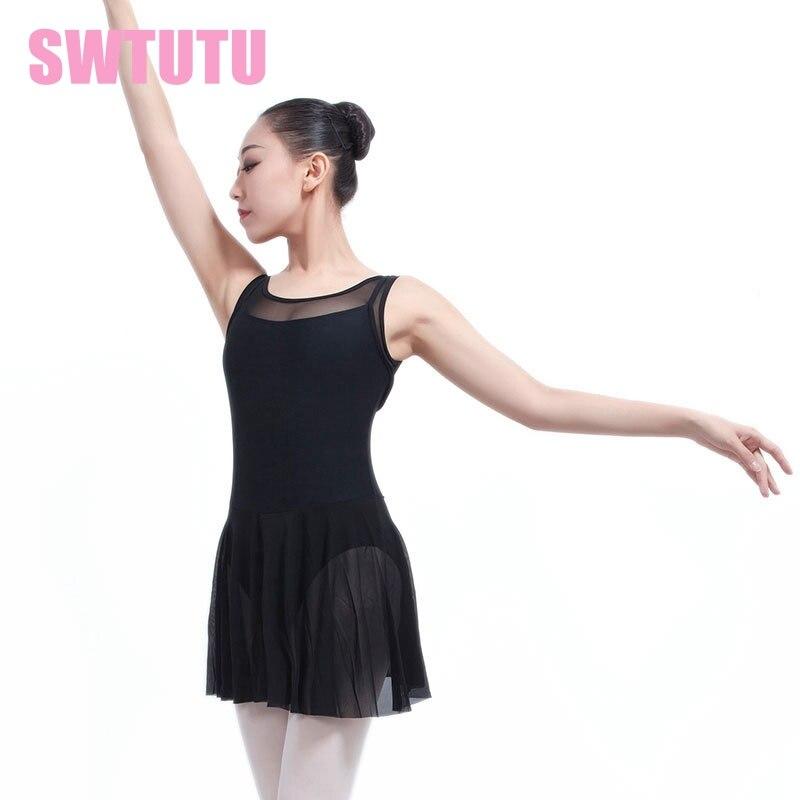adult tank black mesh ballet leotard dancing dress lyrical dress professional stage ballet clothes dress ML6031