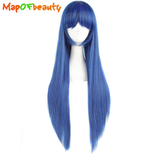 MapofBeauty long straight womens cosplay wigs Dark Blue + Black 80cm 32inch Costume Party Ladies Heat Resistant Synthetic Hair