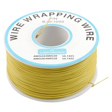 Yellow PVC Coated Tin Plated Copper Wrapping Wire Wrap 305M 30AWG Cable Reel