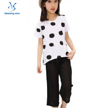 Summer Teenage Girl Clothing Set Short Sleeves Girls Boutique Outfits Children's Sets Kids Fashion Suit Polka Dot T-shirt+Pants