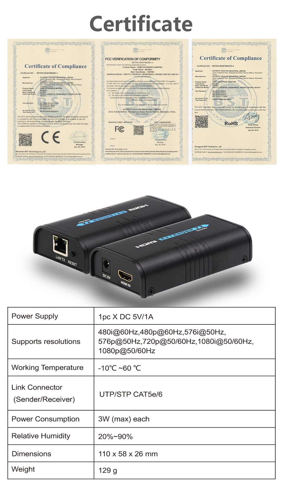 MiraBox HDMI Extender Over Splitter IPTCP UTPSTP CAT5e6 Rj45 LAN Network Support 1080p 120m HDMI Transmitter and Receiver (8)