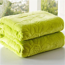 1pc Four Seasons Coral Fleece Fabric Blankets Solid Color Adults & Children Floral Wool blanket Free shopping(China)