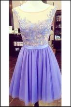 Classic Juniors Lavender Lace Tulle Short Cocktail Party Dresses 2016 Sleeveless Knee Length Sheer Prom robe de cocktail New