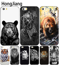 HongJiang russian bear tiger lion cell phone Cover case for iphone 6 4 4s 5 5s SE 5c 6 6s 7 8 plus case for iphone 7 X(China)