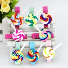 5Pcs/Lot Hair Accessories Hair Clips Summer Fashion Rainbow Lollipop Girls Hair Accessories Clip Hairpin Barrette Gum For Kids(China)