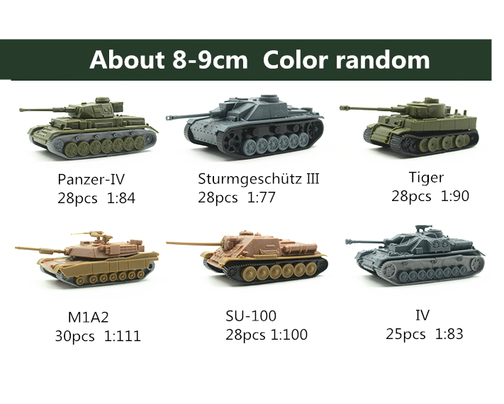 6pcs/set Assembled Tank 4D DIY Kits Eight Tanks 1:84 PVC 8-9CM Model Puzzle Plastic Assembling Military Toys Children<br><br>Aliexpress