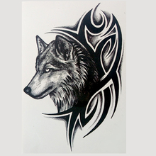 men women Black wolf and flame Temporary tattoo sticker flash tattoo Water Transfer fake tattoo Waterproof Tattoo Arm Body Art