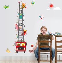 2 set Removable Wall Sticker Kids Height Measurement Fire Engines Ladder Cute Animal Sun Cloud Balloon Aircraft 30-170cm MJ8020(China)