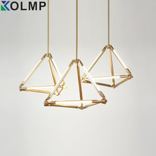 Post-modern Geometry Rhombus Shape Diamond G5 Base tube chandelier lighting Brass Color Housing Hanging Light Fixture 6 arms
