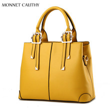 MONNET CAUTHY New Arrivals Bags for Woman Solid Color Yellow Pink Green Red Totes Elegant Fashion Ladies Occident Style Handbags
