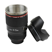 E74 New Stainless Steel Black Camera Lens Cup Travel Mug Coffee Caniam EF 28-135mm(China)