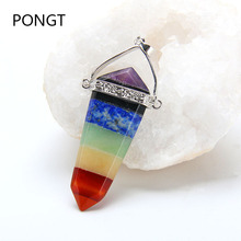 New Arrival Reiki chakra Healing crystal Pendant natural stone pendant necklace 7 chakra stone Sword pendant charm women jewelry(China)