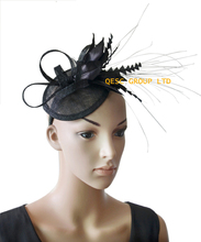 NEW BLACK Sinamay fascinator with feather flower for kentucky derby wedding and party.