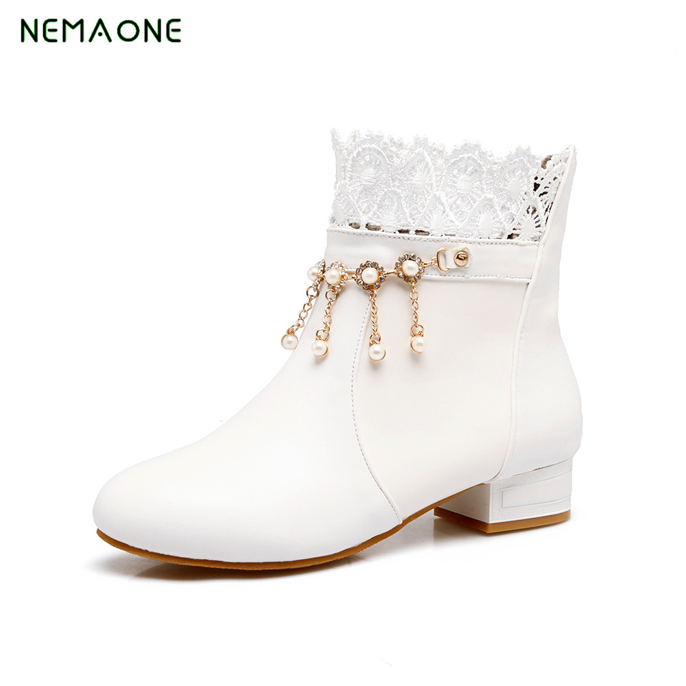 NEMAONE 2017 new ankle boots with cut outs square heels round toe platform pu soft leather women fashion boots<br>