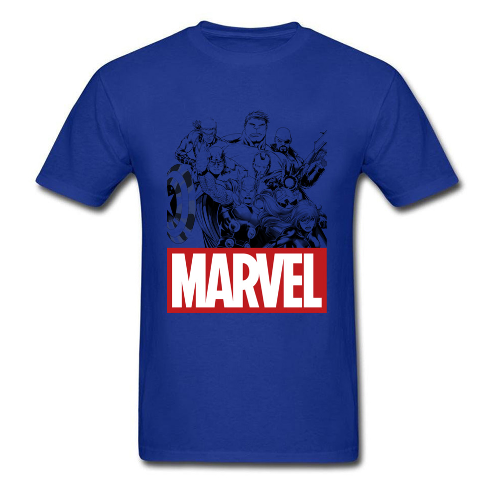 Newest Male Top T-shirts Crew Neck Short Sleeve 100% Cotton Star Wars Marvel Heroes Logo Tops & Tees Print Tops & Tees Marvel Heroes Logo blue