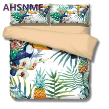AHSNME (1pcs Duvet Cover + 2Pcs Pillowcase) Big mouth bird fruit pineapple pattern Bedding Set North American California King(China)