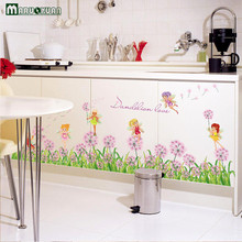 New Pink Dandelion Flower Fairy Combination Sticker Skirting Door Cabinet Kitchen Glass Window Decoration Pvc Wall Stickers