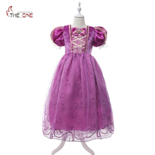 MUABABY Girl Dresses Princess Rapunzel Cosplay Costume Children Sequin Puff Sleeve Party Dresses Kids Ball Gown Evening Clothing(China)