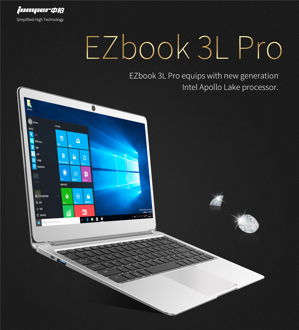 Jumper EZbook 3L Pro 14 inch FHD Screen laptop Intel Apollo Lake N3450 HD Graphics 500 6G RAM 64G eMMC Wifi Ultrabook Computer