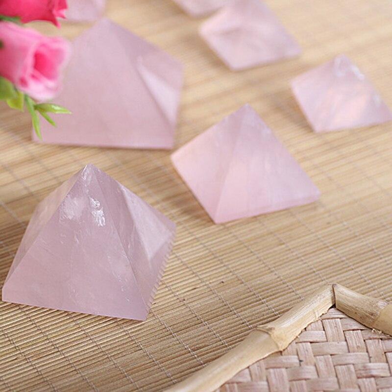 1pc 20-40mm Natural Rose Quartz Pyramid Stone Crystal Feng Shui Healing Specimens
