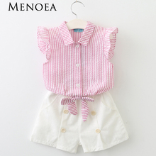 Menoea 2017 Brand Children Clothes Fashion Style Kids Girls Clothing Sets Summer New short Sleeve T-Shirt+Pant Dress 2Pcs(China)