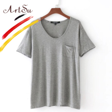 ArtSu V-Neck Casual Cotton Solid Color Tops Tees Female Elastic Basic T-shirts Women Brand Short Sleeve Plain T Shirt ASTS20062