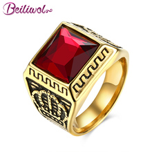Beiliwol Men Rings Square Stone Casting Crown Vintage Jewelry Red Black 2017 Fashon Accessories Father's Day Gift Szie 9 10 11