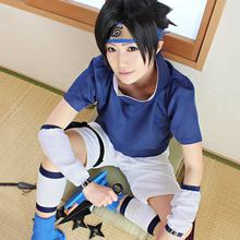 NARUTO Shippuden Sasuke Uchiha Cosplay cloak Costume Japanese anime for Halloween includes wig