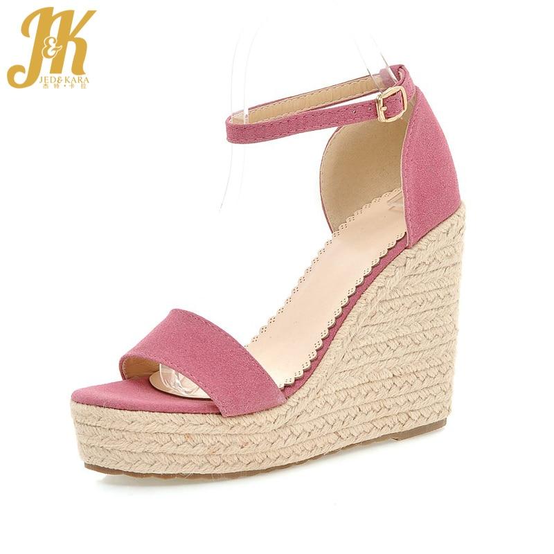 JK Size 34-39 Straw Weave Wedges High Sandals Women Ankle Strap Summer Fashion Shoes Women Platform Open toe Buckle Footwear <br>