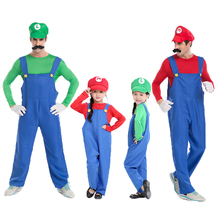 Funny Cosplay mascot Costume Super Mario Luigi Costume Fancy Dress Up Party Cute Costume For Adult Children Kid Free Shipping()