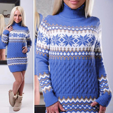 2017 Autumn Long Sleeve Turtleneck Pullovers Women Sweater Snowflake Christmas Sweater Female Long Sweater Dress Ladies DP829081