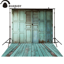Allenjoy photography backdrop blue wooden door floor shutter high quality newborn photo studio photocall(China)