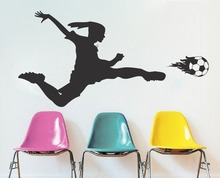 Removable Girls Soccer Player Wall Decal Soccer Girl Bedroom Playing Soccer Home Decor Wall Sticker DIY Bedroom Vinyl Mura Q-23