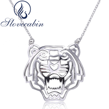 Slovecabin Original925 Sterling Silver Tiger Pendant & Necklace For Women Fashion Jewelry 925 Silver Animal Necklace Best Gift